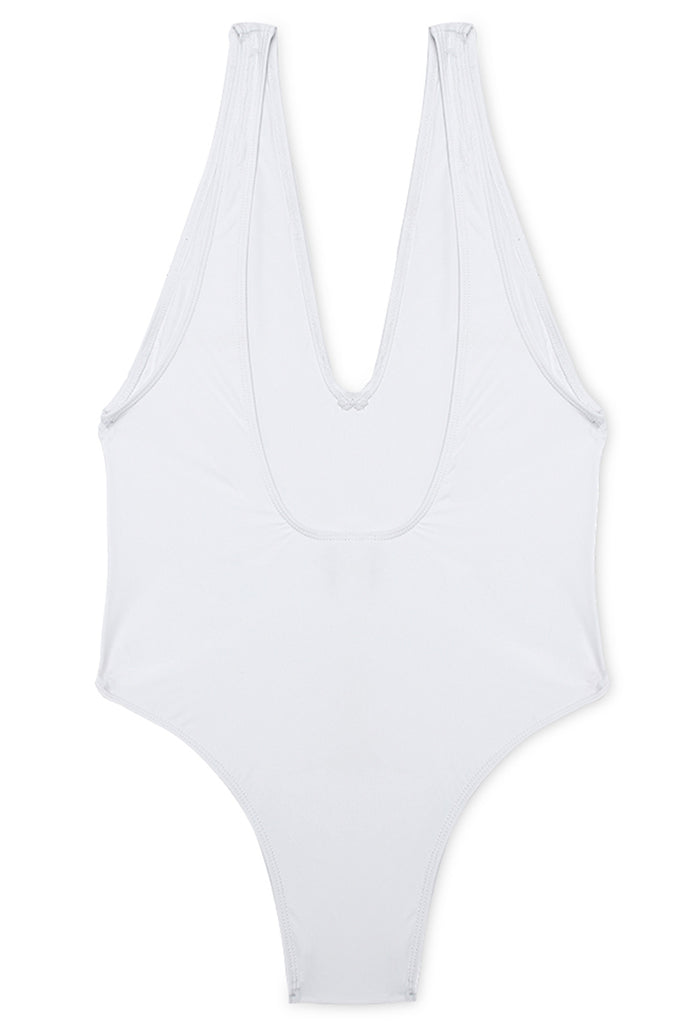 GK001# Solid Plunge Open Back One Piece Swimsuit * - Cobunny