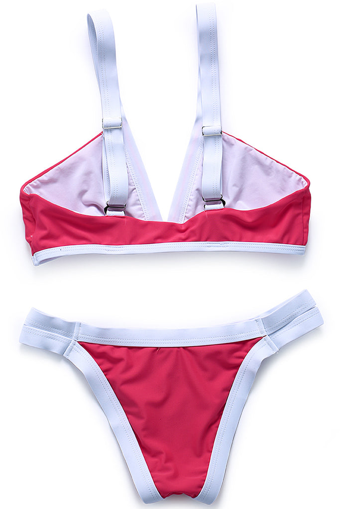 ZH002# Color Contrast Banded V Neck Bikini Set - Cobunny