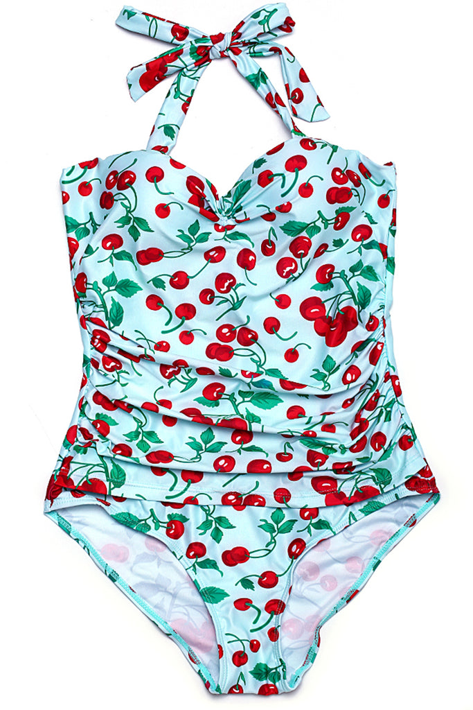 FB926# Cherry Push Up Halter One Piece Swimsuit * - Cobunny