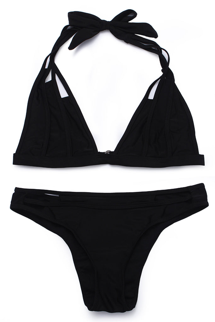 FB791# Solid Color Contrast Trim Cut Out Strappy Halter Bikini Set * - Cobunny