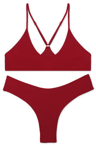 Solid Color Scoop Neck Spaghetti Straps Bikini Set - Cobunny