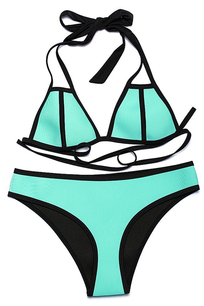 FB730# Solid Color Neoprene Contrast Trim Strappy Triangle Halter Bikini Set * - Cobunny