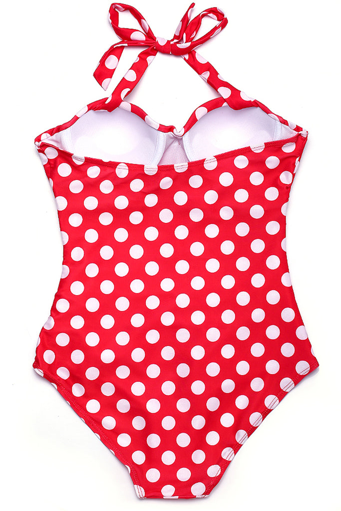 FB926# Polka Dot Ruched Push Up Halter One Piece Bikini Set * - Cobunny