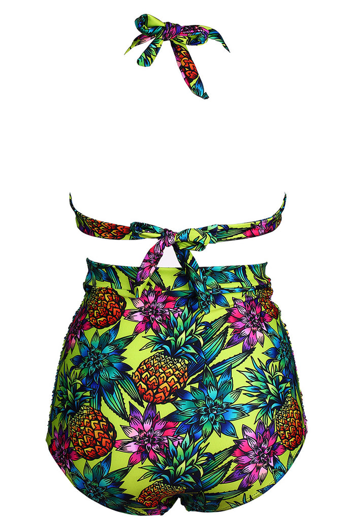 FB963# Vintage Pineapple & Flower Print Ruched Push Up Swimsuit * - Cobunny