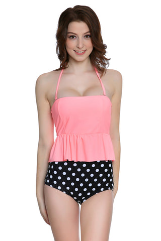 GK027# Solid Ruffle Bandeau Tankini Top & Polk Dot High Waist Bottom *