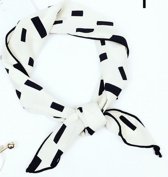 White Rectangles hair scarf
