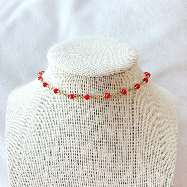 Red rosary choker