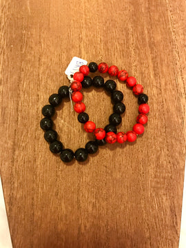 Black and Red bracelet set