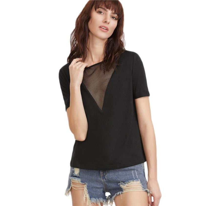 Solid Black short Sleeve Lace Hollow Out Vintage Club Party Tops Natural  Sexy Slim Women Shirts