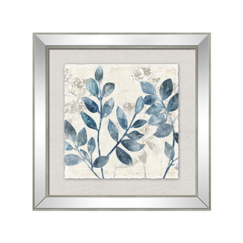 Blue Leaf Mirror Print Right