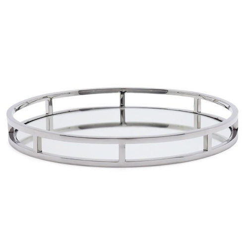 Chrome Round Mirror Tray