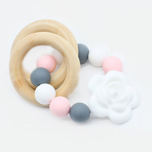 Silicon & Wood Teething Flower