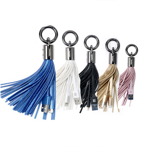 Leather Tassel Lighting USB Cable Keyring