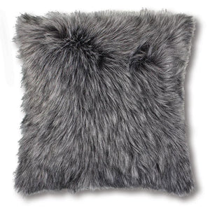 Kashmir Charcoal Faux Fur Cushion