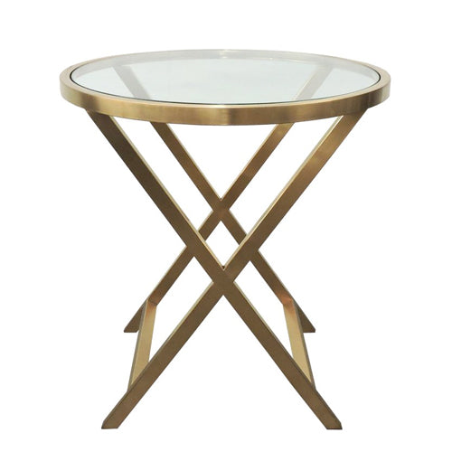 Glass and Bronzed Gold Side Table