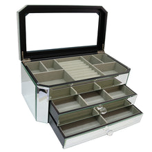 Glass Mirror Jewellery Box Rounded