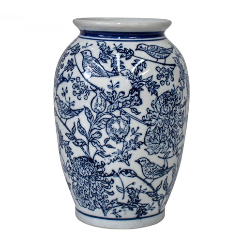 Blue Bird Detailed Vase