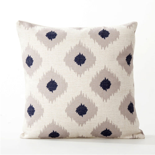 Natural Navy Geometric Cushion Cover