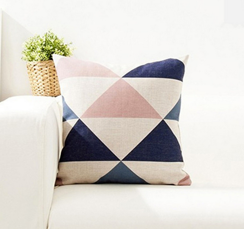 Navy Pink Geo Cushion Cover