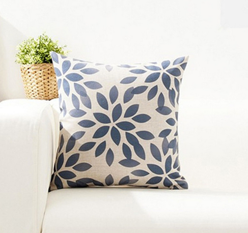 Navy Flower Cushion Cover