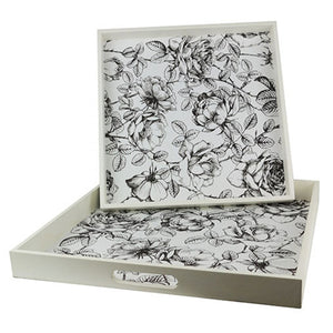 White Floral Tray
