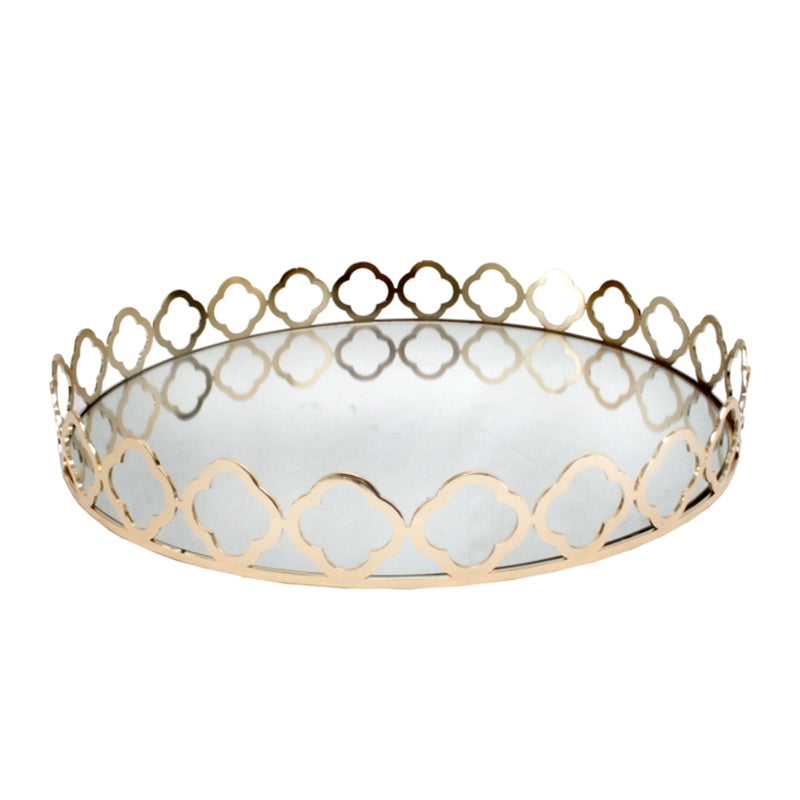 Gold Round Mirror Tray