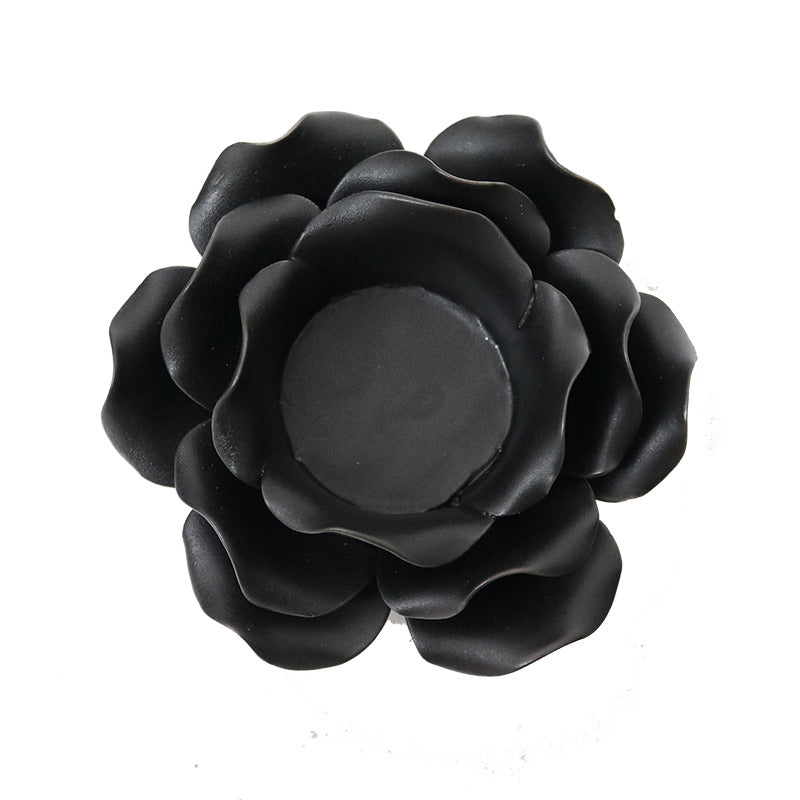 Black Flower Tea Light Candle Holder