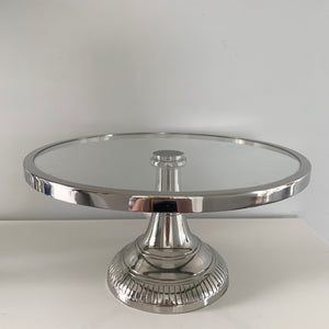 Round Glass Cake Stand on Silver Base