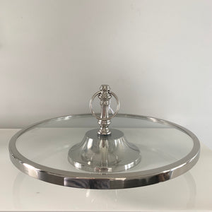Round Cake Stand on Silver Base