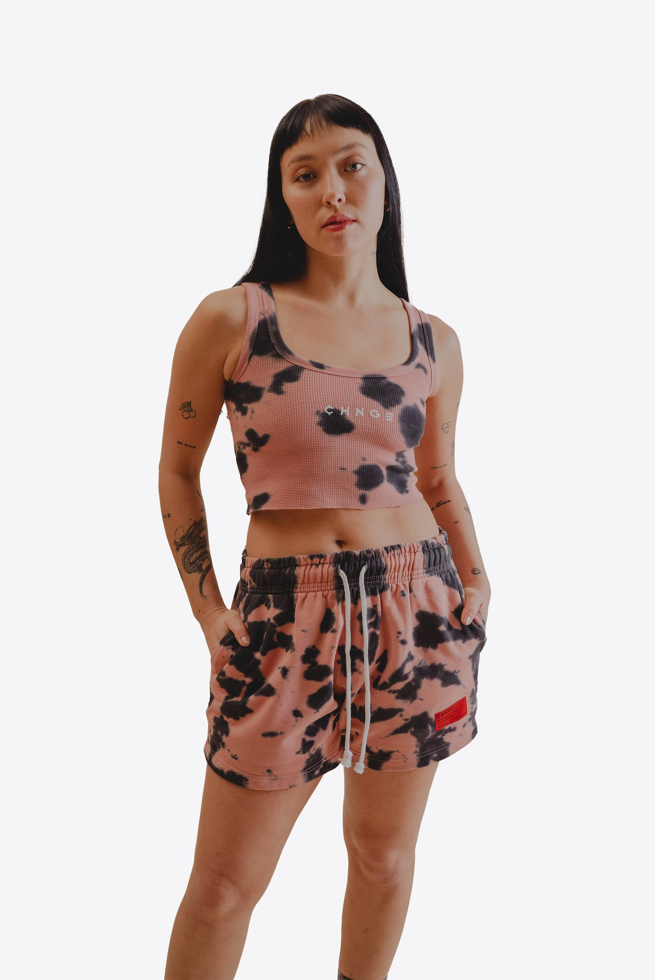 Dusty Rose Tiger Tie Dye Sweatshorts