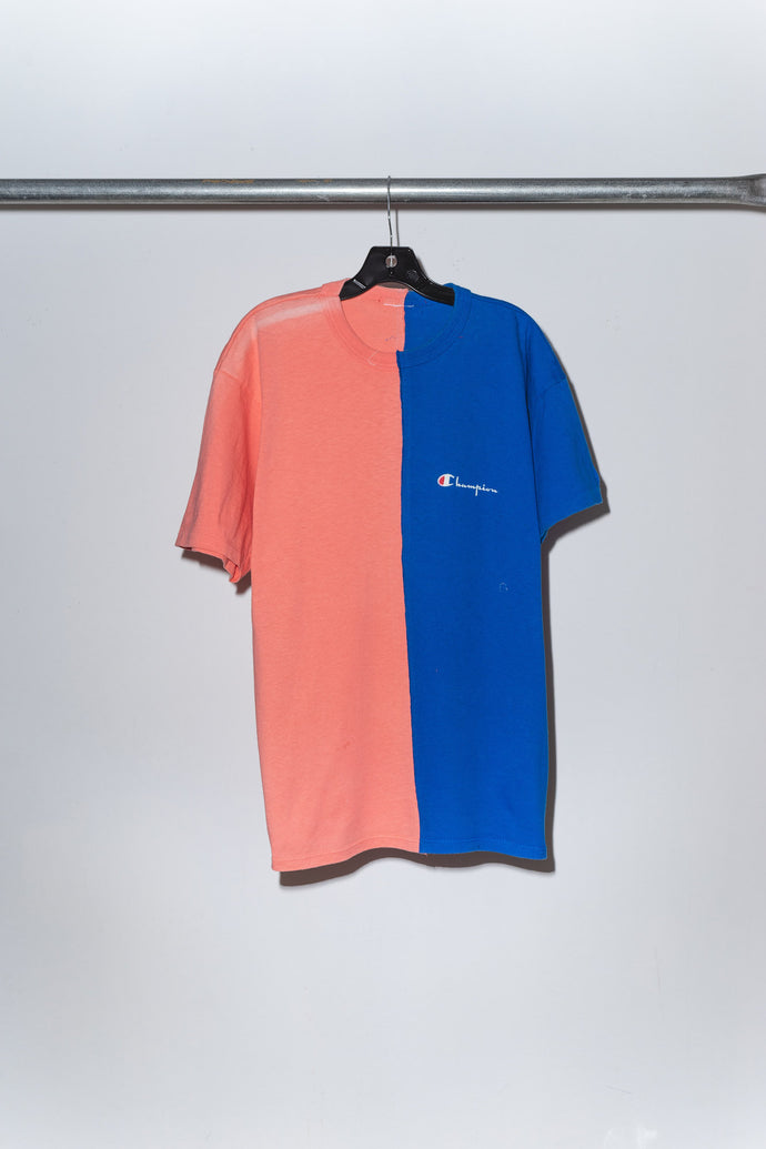 Blue & Pink Champion Pieced Together Tee - M