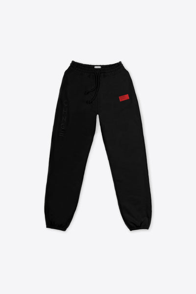 Black Tonal Embroidered Sweatpants