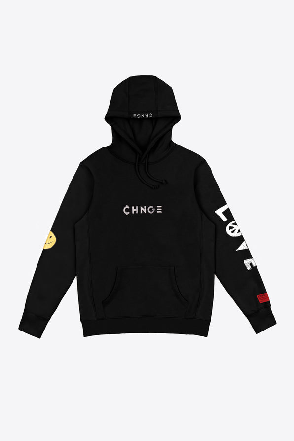 Black Tonal Embroidered Hoodie