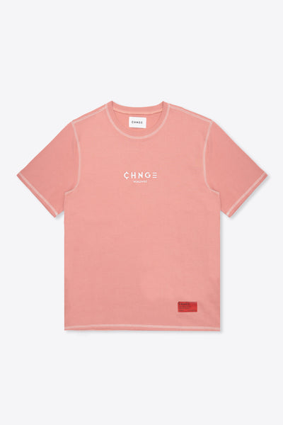 CHNGE Worldwide Contrast Stitch Tee (Dusty Rose)