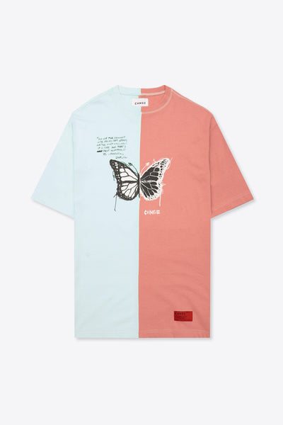 Pieced Butterfly T-Shirt Dress (Mint/Dusty Rose)