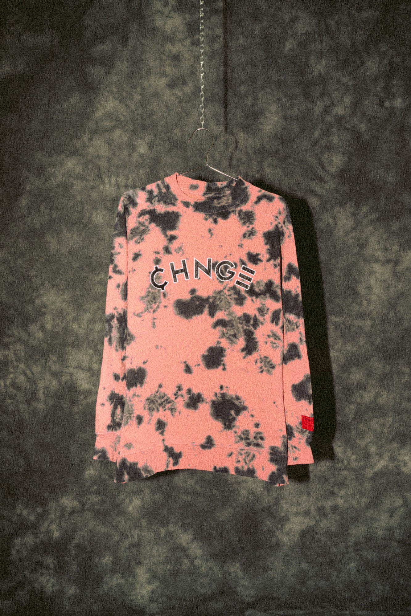Dusty Rose CHNGE Logo Splotch Tie Dye Crewneck