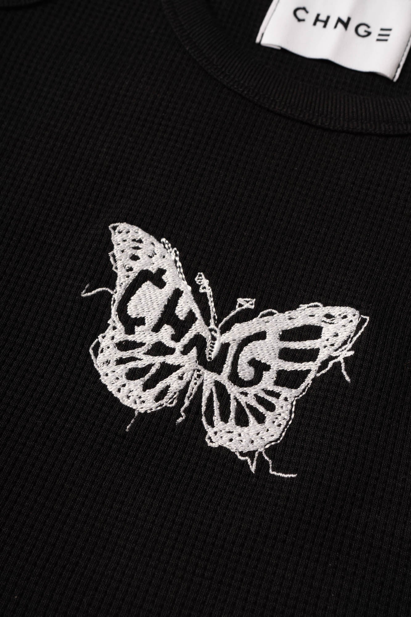 Butterfly Ribbed Tank (Black)