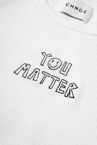 You Matter Ribbed Tank (White)