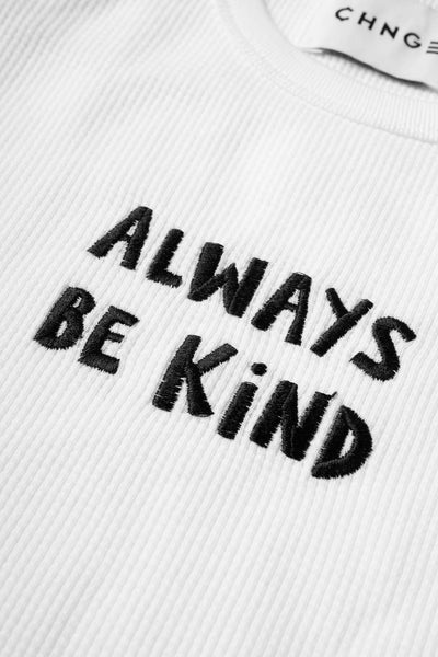 Always Be Kind Ribbed Tank (White)
