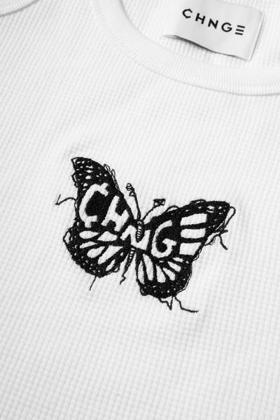 CHNGE Butterfly Ribbed Tank (White)