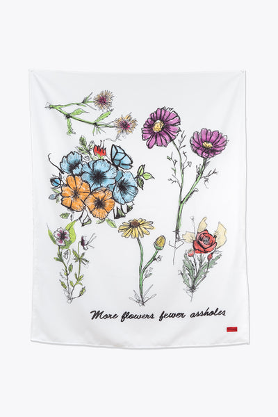More Flowers Fewer Assholes Tapestry