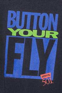 '90 Levi's Button Your Fly Tee - L