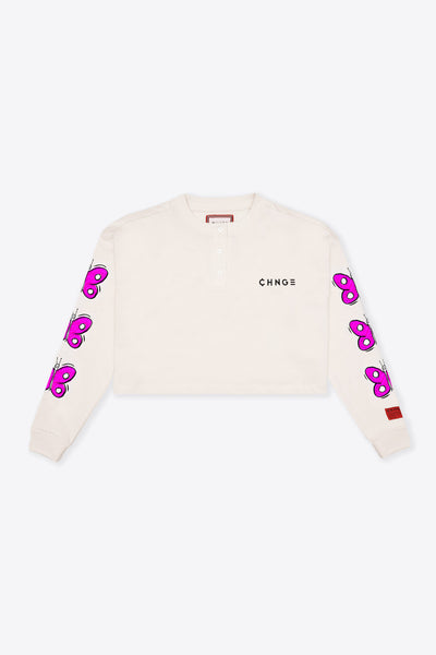 Chalk Growth is a Process L/S Henley Crop Top