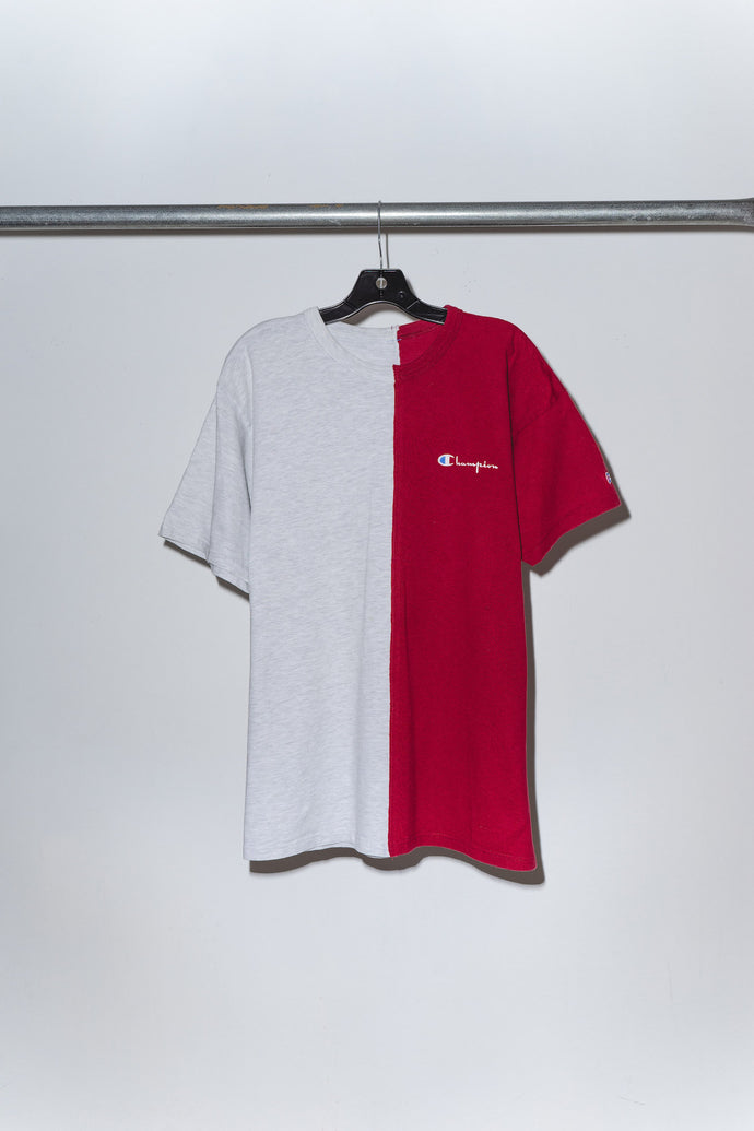Grey & Red Champion Pieced Together Tee - M