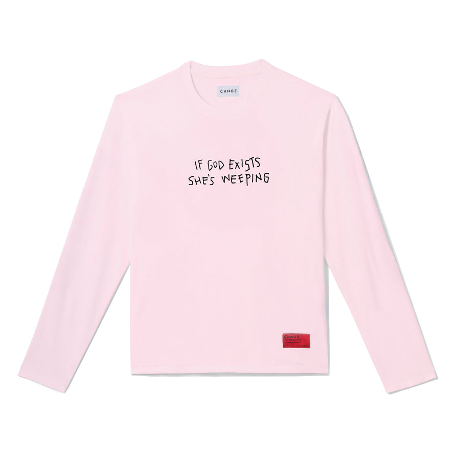 God is Weeping Long Sleeve (Pale Pink)