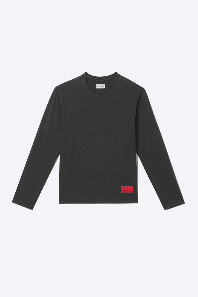 Faded Black Organic Cotton Long-Sleeve