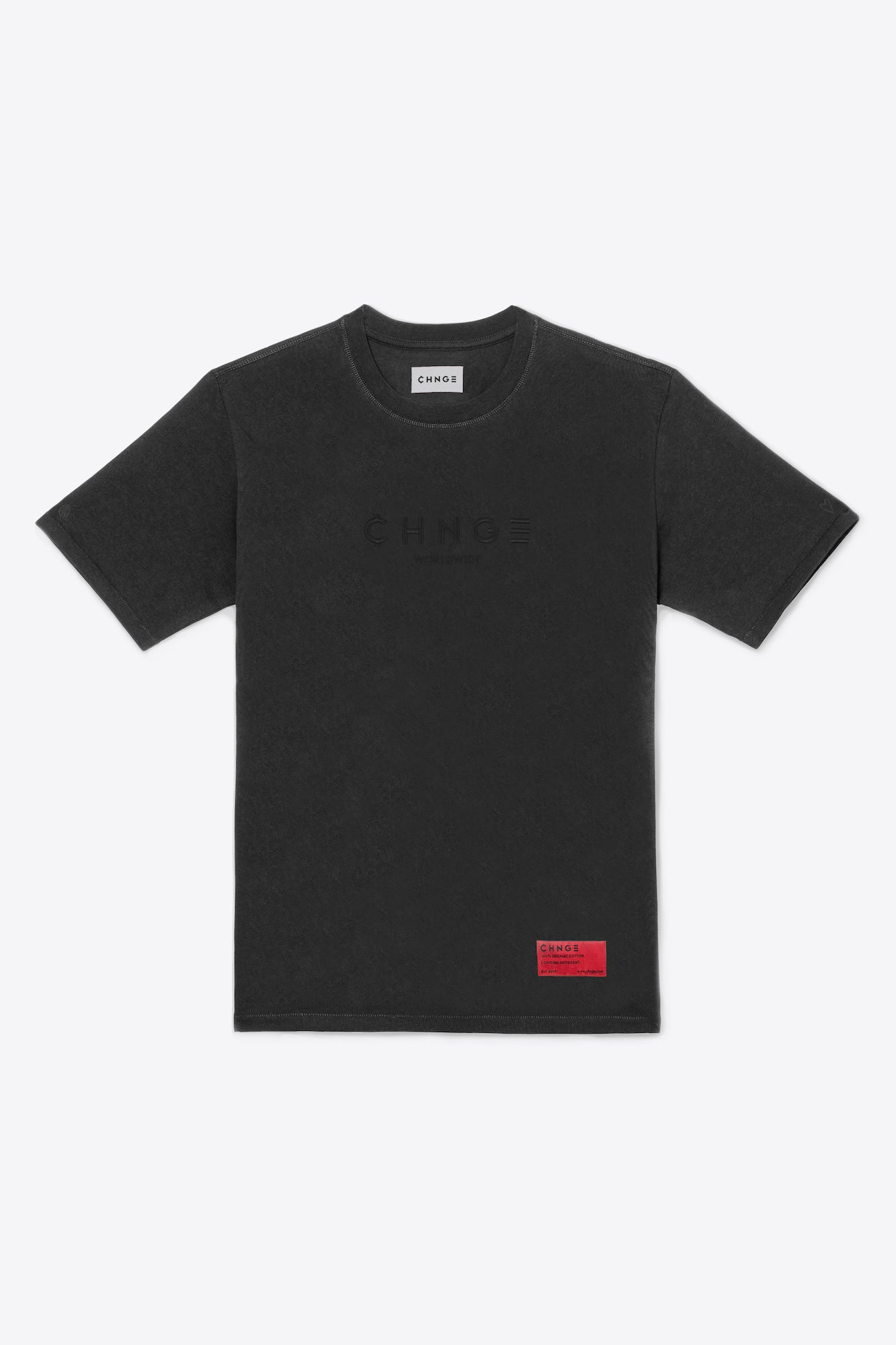 Faded Black Tonal Embroidered Tee
