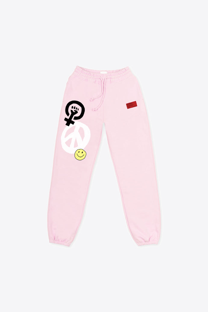 Pale Pink Peace & Pow(HER) Sweatpants