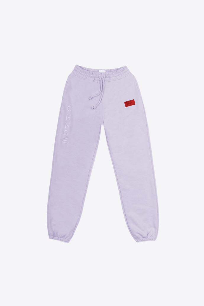 Violet Tonal Embroidered Sweatpants