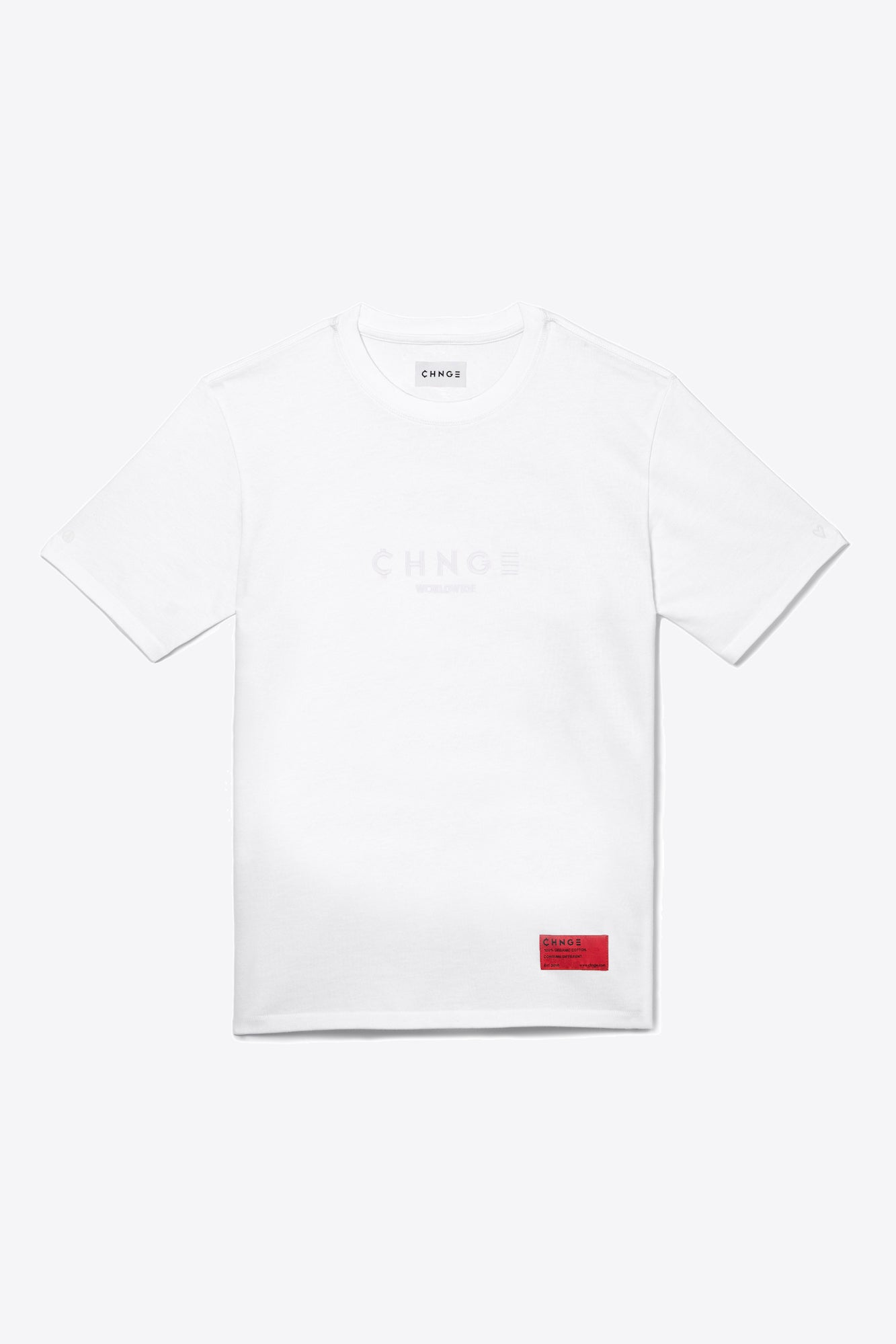 White Tonal Embroidered Tee